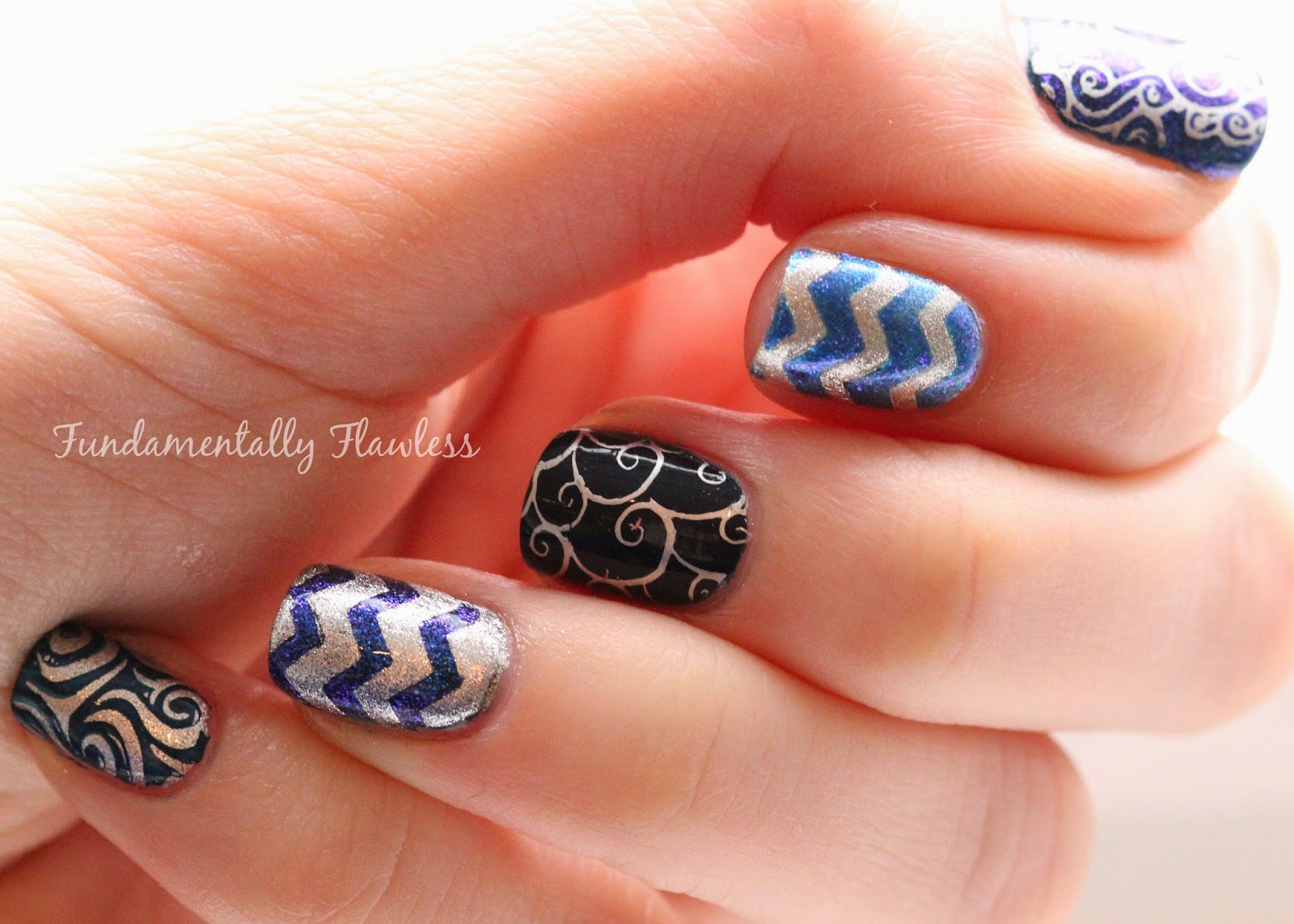 Fundamentally Flawless Navy Blue And Silver Nails With Moyou Sailor