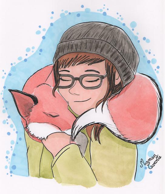 Un renard, un câlin pour avoir chaud en plein hiver :)
