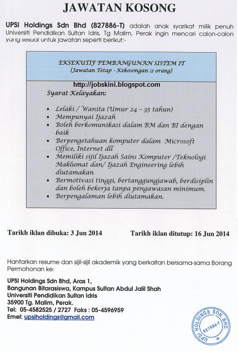 Jawatan kosong terkini di UPSI Holdings Sdn Bhd