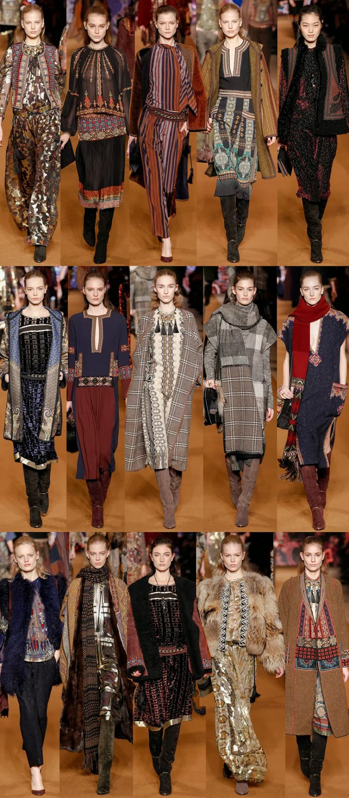 Etro fall winter 2014 runway collection, Veronica Etro, FW14, AW13, MFW, Milan fashion week, boho, gypsy, gypset