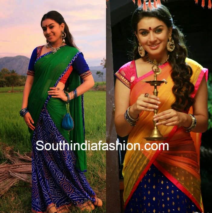 hansika in half sarees