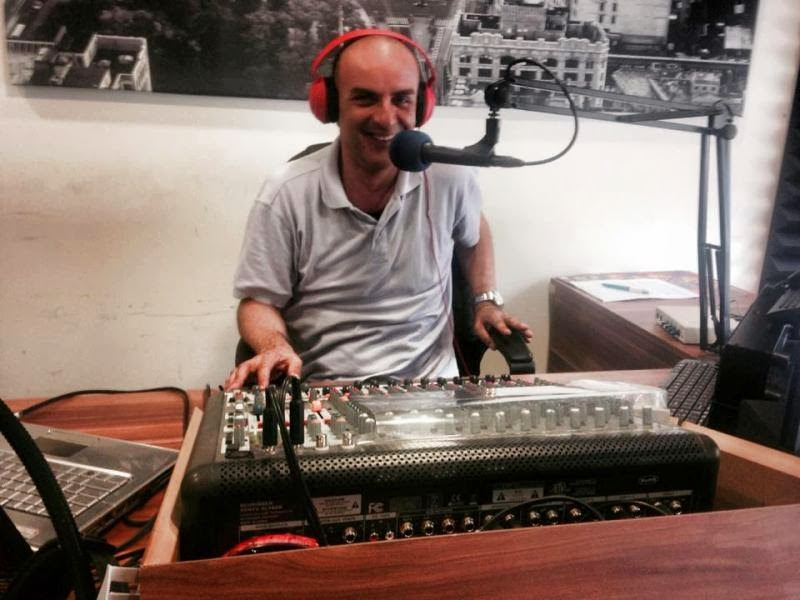 "George Athanasiadis broadcasting the new radio show ""The journey of our life"""