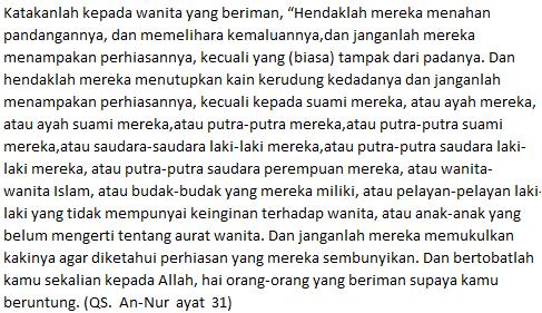 kriteria jilbab islami