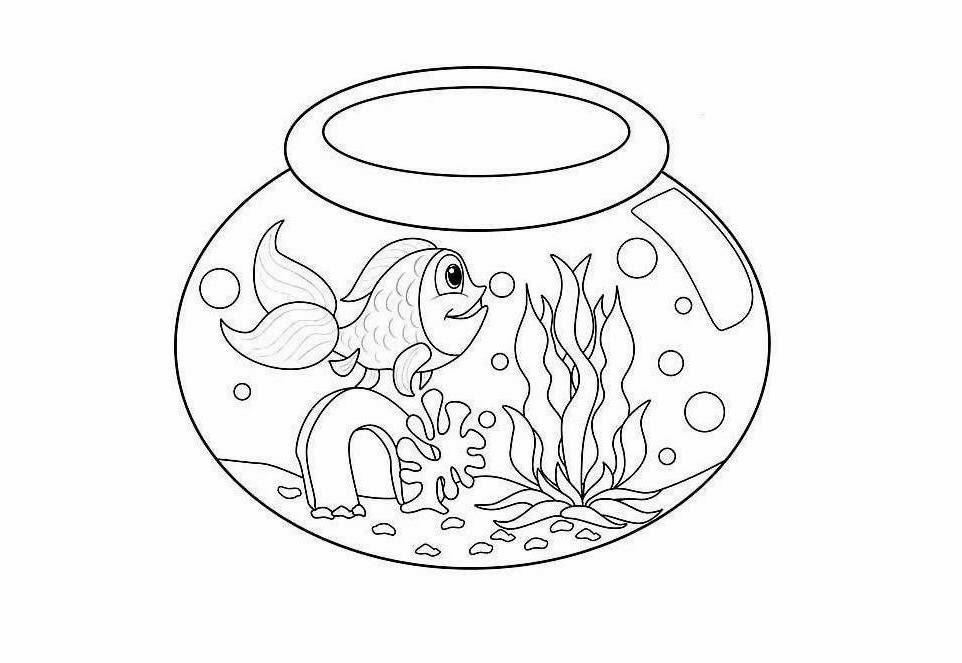 Fish Bowl Coloring Drawing Free wallpaper