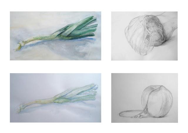 manu lafay nature morte poireau peinture acrylique dessin crayon