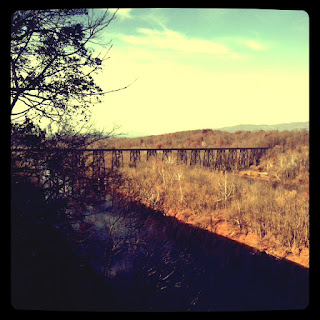 Train trestle at riverside park