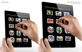 """Mockup of 7.85-inch """"iPad mini"""" next to iPad 2"""