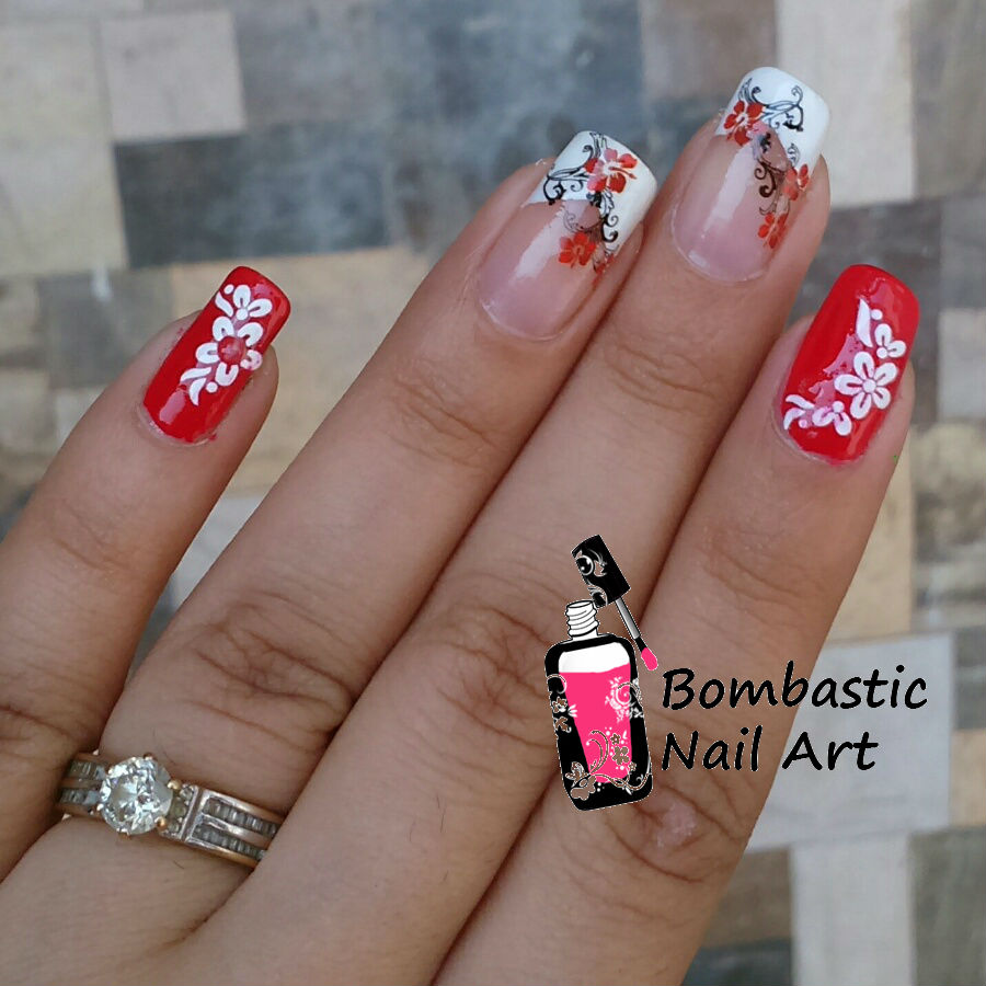 Red Flower Nail Art With Water Decal And French Manicure Bombastic