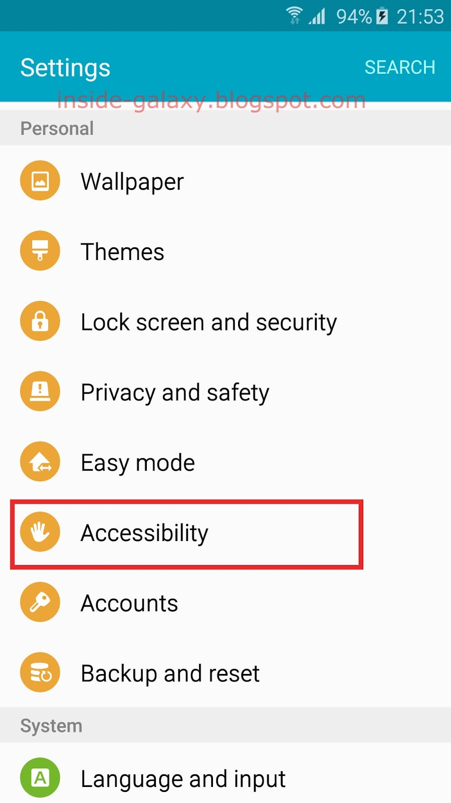 Samsung Galaxy S6 Edge How To Setup And Use Doorbell Detector In Hook Up A Scroll Down The Personal Section Then Tap Accessibility