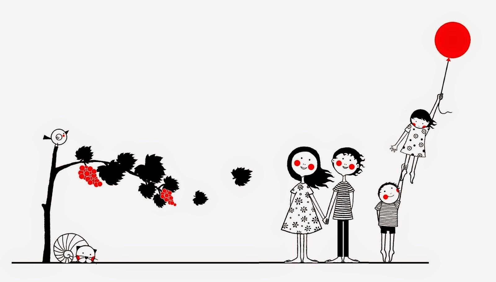 Familia ilustrada por Coloretes