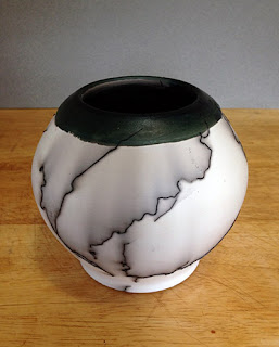 Horse Hair Raku pot by Lori Buff