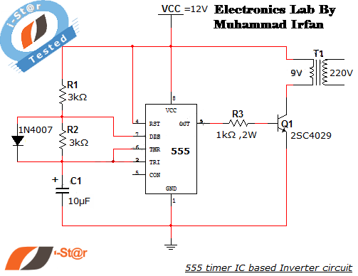555 timer ic inverter circuit schematic 12v to 220v electronics lab