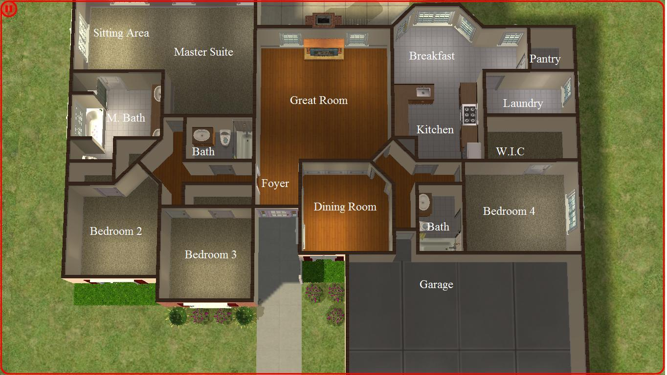 Sims 2 lot downloads 4 bedroom ranch for 4 bedroom 4 bathroom house