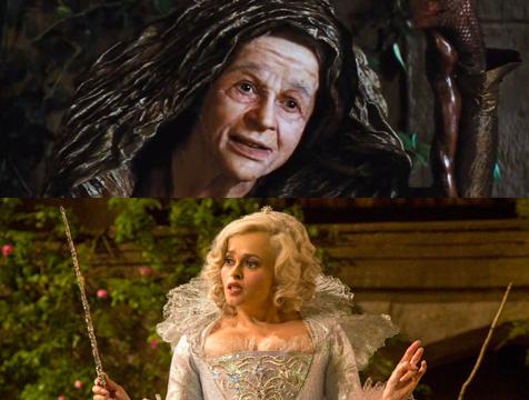 La transformación del hada madrina (Helena Bonham Carter) de Cenicienta - Cine de Escritor