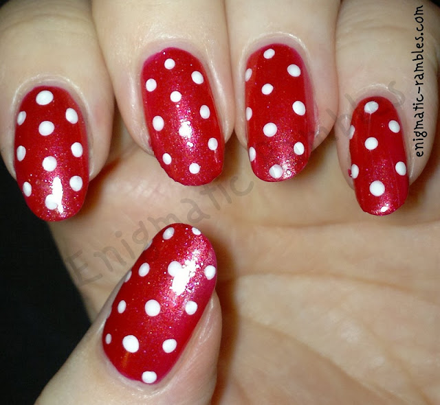 red-white-polka-dot-dots-nails-nail-art-leighton-denny-heat-wave