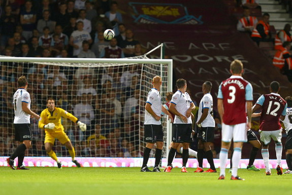 West Ham player Ricardo Vaz Tê scores the opening goal against Cheltenham from a free-kick