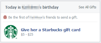 give real gifts via facebook gifts