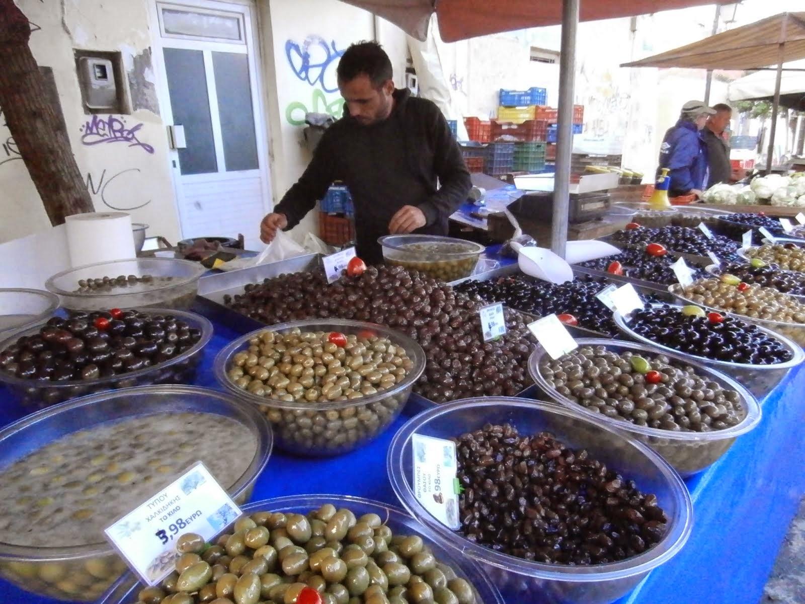 Olive Stand, Farmers' Market, Chania, November 2014