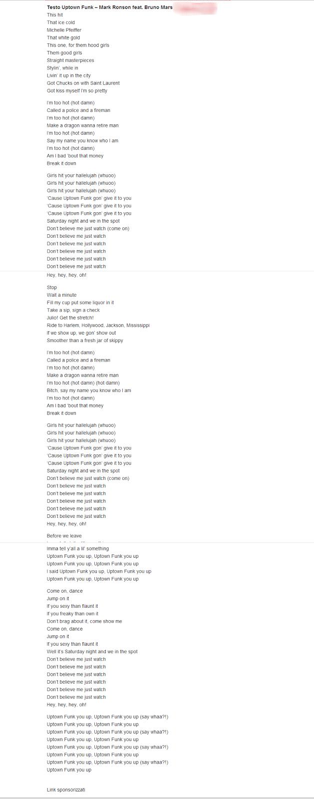 testo traduzione Uptown Funk Mark Ronson ft. Bruno Mars lyrics