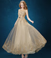 Sequin and Pearl Decorated Champagne Gold Prom Dress