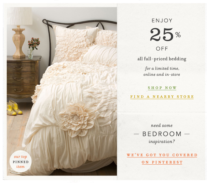 Effortlessly with roxy anthropologie 39 s bedding gets a 25 for Online stores like anthropologie