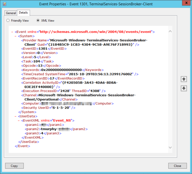 An event entry in XML view.