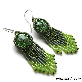 Зеленые серьги из бисера с кристаллами Swarovski - 217 / 365