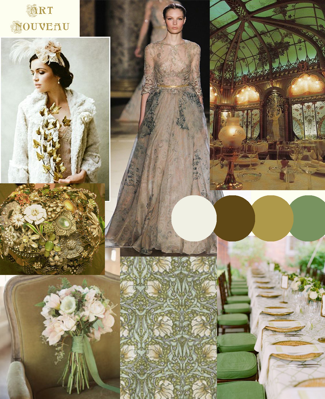 Green & Gold Art Nouveau Wedding Styling - Knots & Kisses Wedding ...