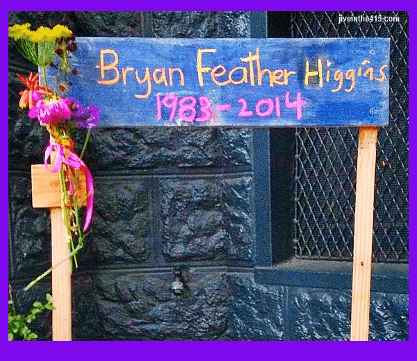 "Bryan Higgins aka ""Feather Lynn"" memorial sign that was put up in my Duboce Triangle neighborhood."