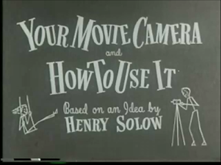 title card, film, movie camera, 1948, black & white