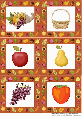 autumn fall fruits flashcards