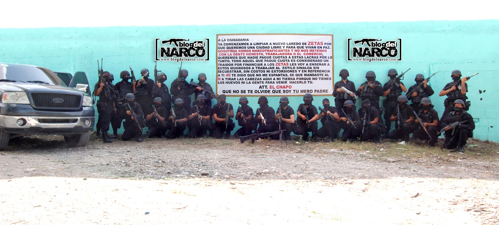 cartel pose next to a narco banner (all pictures credit to BDN