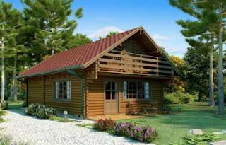 residential log house
