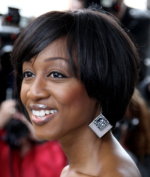 Short Bob with Bangs Hairstyles for Black Women with Thick Hair