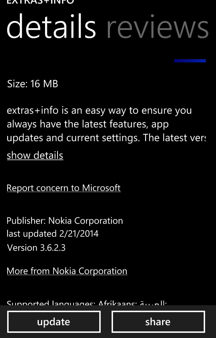 extras+info for Windows Phone 8