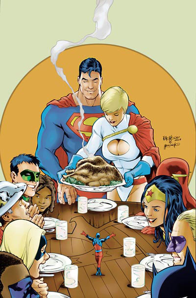 DC superhero thanksgiving dinner