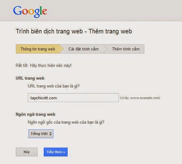 Tích hợp Google Translate vào Blogger