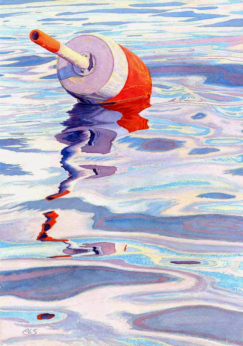 "Lobster Buoy With Water Ripples - Watercolor 14"" x 20"""