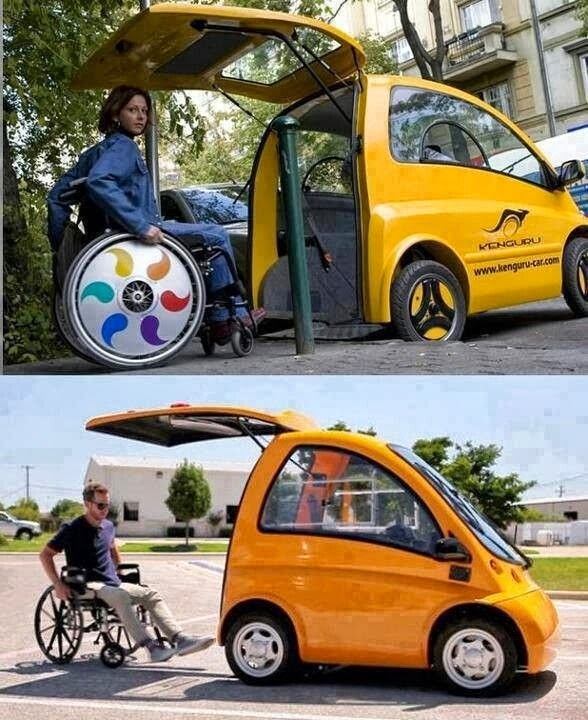 Two photos of people in wheelchairs entering tiny accessible cars