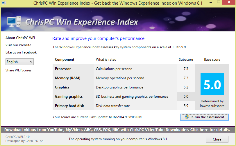 Get score windows Experience in Win 8.1