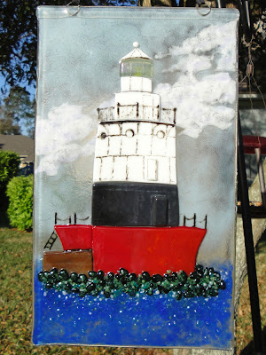 Old Orchard Lighthouse Fused Glass Window Panel Staten Island Great Kills NYC flutterbybutterfly