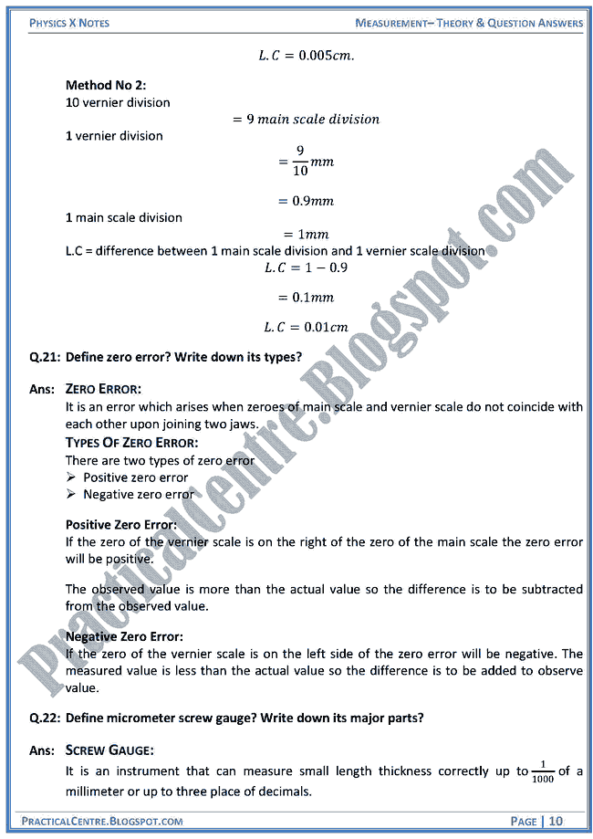 Measurement - Theory & Question Answers - Physics X