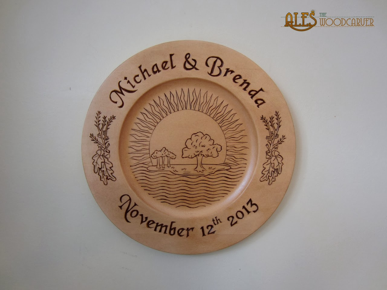 Ales the woodcarver wedding plate chip carving