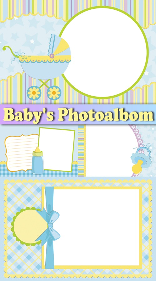 Molduras Infantis  Album Do Beb     Baby S Photoalbom Templates   4