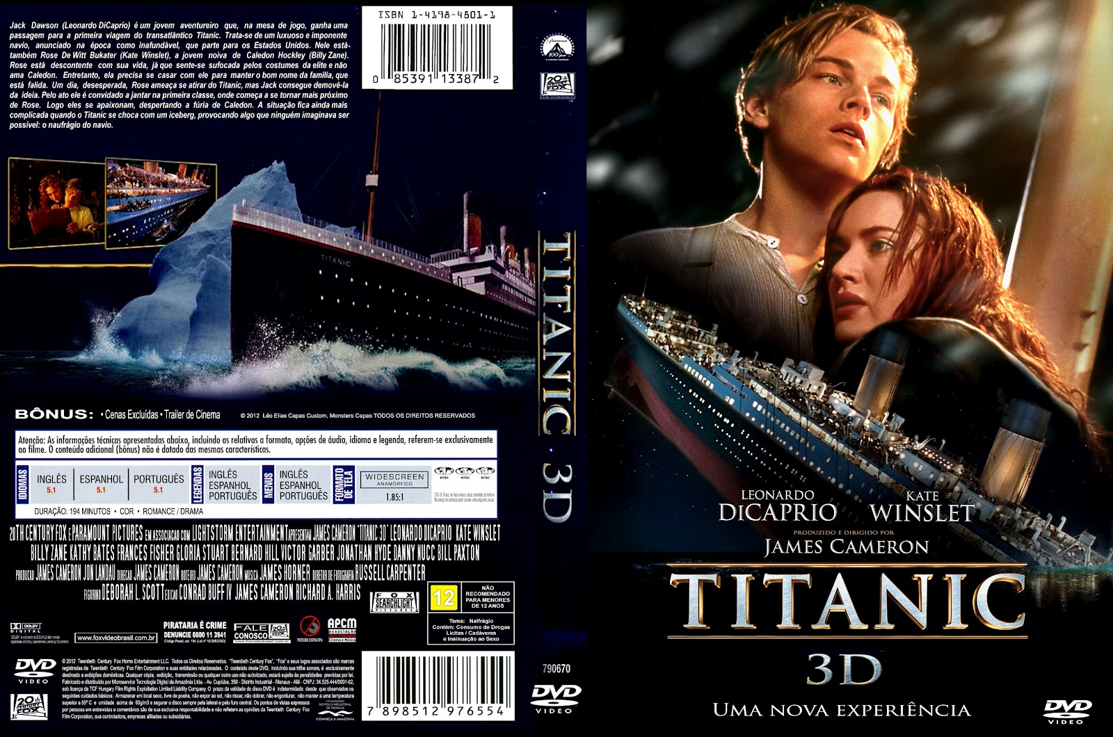 Download Titanic 3D Half-SBS Bluray 1080p Dual Áudio Titanic 3D capa 2