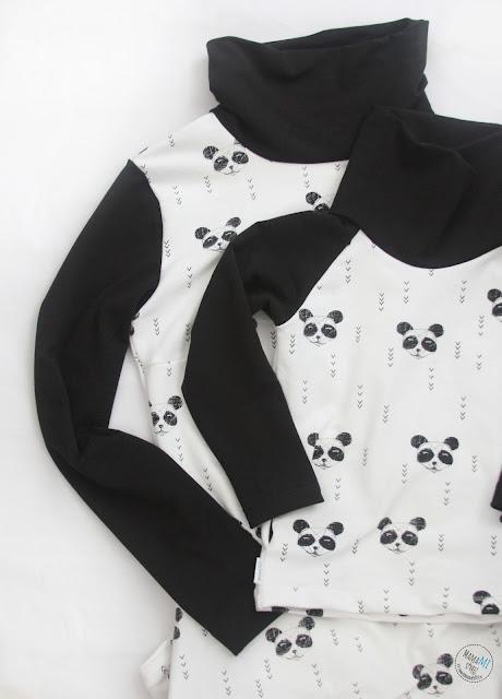 sukienka i dresowa bluza dla dziecka czarno biała panda