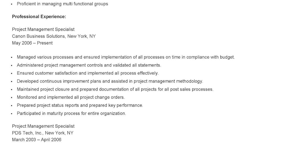 resume samples sample project management specialist resume