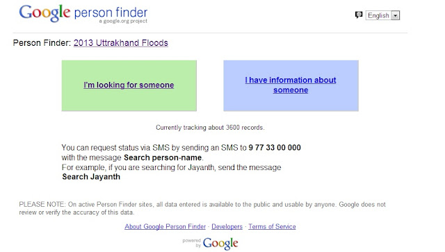 Use Google Person Finder to trace flood victims