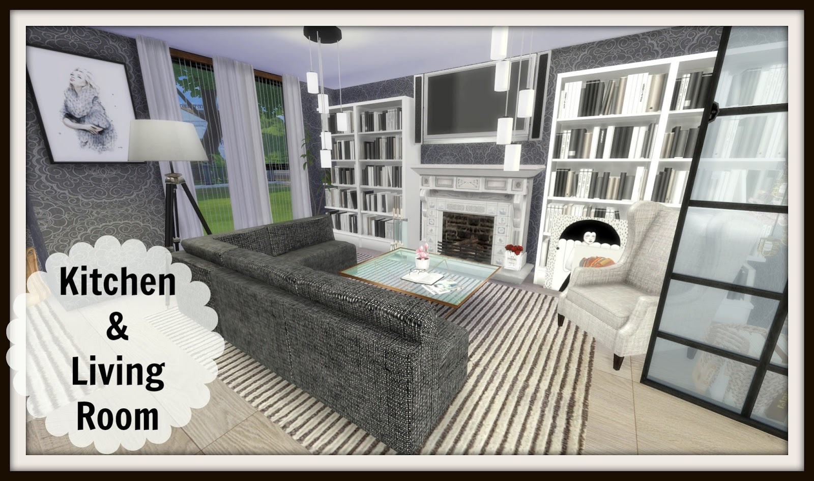Sims 4 kitchen living room dinha for Sims 4 living room ideas