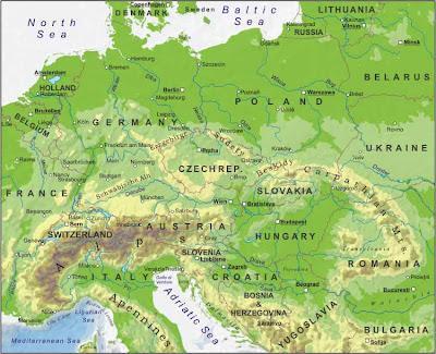 Mappa dell'Europa Centrale Politico